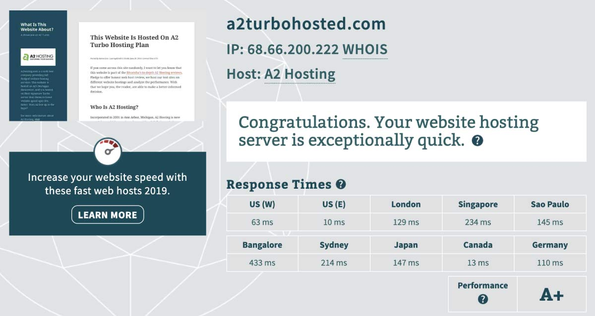 A2 Turbo Server Response Time